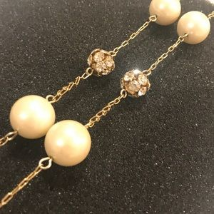Gold Pave Pearl Station Necklace (Long)